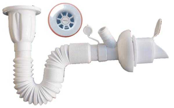 Сифон за мивка с гофрирана връзка и разклонение за пералня, клапа против насекоми и миризми